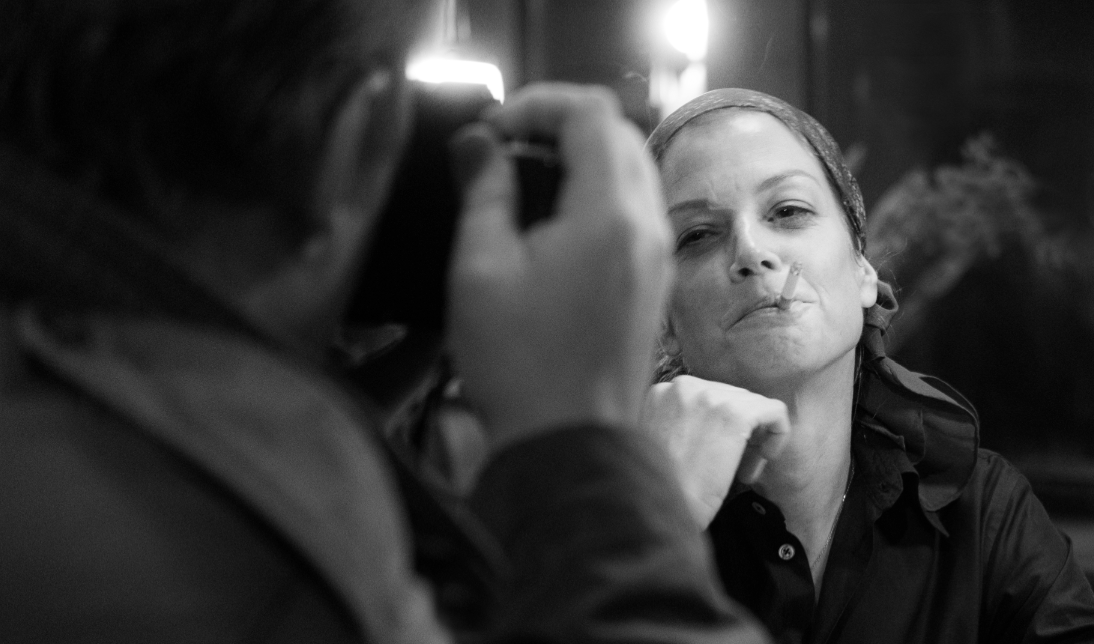 Film still, Romy Schneider (Marie Bäumer) smokes a cigarette